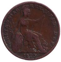 Монета 1 фартинг. 1823 год, Великобритания.