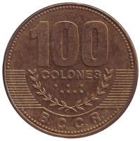 Монета 100 колонов. 2014 год, Коста-Рика.