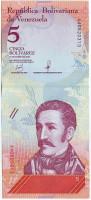 Банкнота 5 боливаров. 2018 год, Венесуэла.