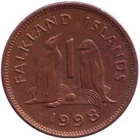Субантарктические пингвины. Монета 1 пенни. 1998 год, Фолклендские острова.