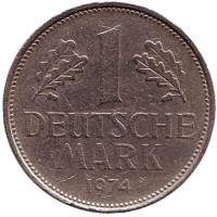 Монета 1 марка. 1974 год (F), ФРГ.
