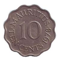 Монета 10 центов. 1978 год, Маврикий.