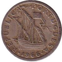 Монета 2,5 эскудо. 1966 год, Португалия.