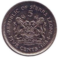 Монета 5 центов. 1984 год, Сьерра-Леоне.