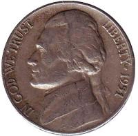 Джефферсон. Монтичелло. Монета 5 центов. 1951 год, США.