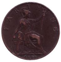 Монета 1 фартинг. 1899 год, Великобритания.