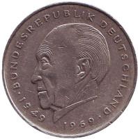 Конрад Аденауэр. Монета 2 марки. 1980 год (F), ФРГ. Из обращения.