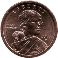 """Сакагавея (Парящий орел), серия """"Коренные американцы"""". 1 доллар, 2008 год (D), США."""