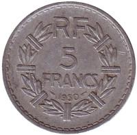 5 франков. 1950 год, Франция.