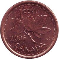 "Монета 1 цент, 2006 год, Канада. (Магнитная. Отметка: ""Кленовый лист"")"