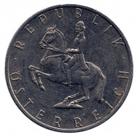 Всадник. Монета 5 шиллингов. 1985 год, Австрия.