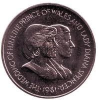 Свадьба Принца Чарльза и Леди Дианы. Монета 50 пенсов. 1981 год, Фолклендские острова.