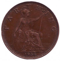 Монета 1 фартинг. 1934 год, Великобритания.