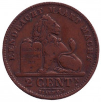 Монета 2 сантима. 1909 год, Бельгия. (Der Belgen)