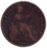 Монета 1 фартинг. 1825 год, Великобритания.