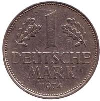 Монета 1 марка. 1974 год (G), ФРГ.