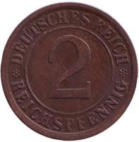 Монета 2 рейхспфеннига. 1924 год (A), Веймарская республика.