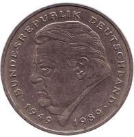 Франц Йозеф Штраус. Монета 2 марки. 1990 год (F), ФРГ.