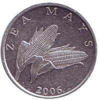 Початок кукурузы. Монета 1 липа. 2006 год, Хорватия.
