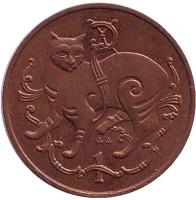 Мэнская кошка. Монета 1 пенни. 1980 год, Остров Мэн. (AA)