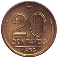 Монета 20 сентаво. 1956 год, Бразилия. UNC.