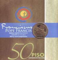 Визит папы римского Франциска. Монета 50 песо. 2015 год, Филиппины.