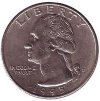 Вашингтон. Монета 25 центов. 1995 (D) год, США.