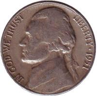 Джефферсон. Монтичелло. Монета 5 центов. 1951 год (D), США.