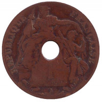Монета 1 цент. 1910 год (A), Французский Индокитай.