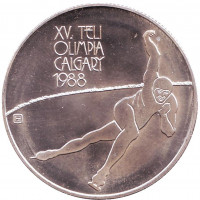 XV Зимние Олимпийские игры в Калгари. Монета 500 форинтов. 1986 год, Венгрия. BU.