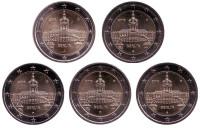 Берлин. Федеральные земли Германии. Набор из 5 монет разных монетных дворов. 2 евро. 2018 год, Германия.