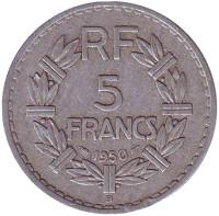 5 франков. 1950 (В) год, Франция.