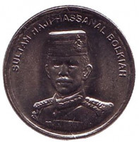 Султан Хассанал Болкиах. Монета 5 сенов. 2005 год, Бруней. UNC.