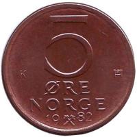 Монета 5 эре. 1982 год, Норвегия. UNC.