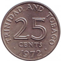 Монета 25 центов. 1972 год, Тринидад и Тобаго.