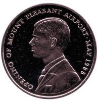 Открытие аэропорта Маунт-Плезант. Монета 50 пенсов. 1985 год, Фолклендские острова.