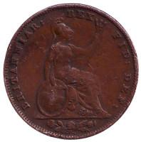 Монета 1 фартинг. 1837 год, Великобритания.
