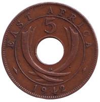 """Монета 5 центов. 1942 год, Восточная Африка. (Отметка монетного двора: """"SA"""" - Претория)"""