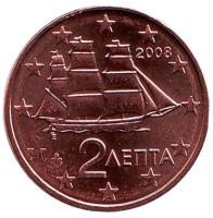 Монета 2 цента. 2008 год, Греция.