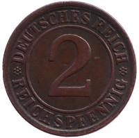 Монета 2 рейхспфеннига. 1924 год (J), Веймарская республика.
