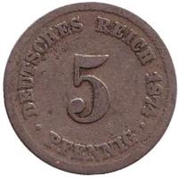 Монета 5 пфеннигов. 1874 год (C), Германская империя.