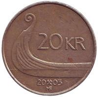 Ладья викингов. Монета 20 крон. 2003 год, Норвегия.