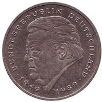 Франц Йозеф Штраус. Монета 2 марки. 1991 год (F), ФРГ.