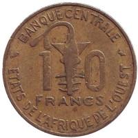 Газель. Монета 10 франков. 1969 год, Западные Африканские Штаты.