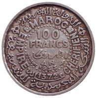 Монета 100 франков. 1953 год, Марокко.