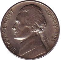 Джефферсон. Монтичелло. Монета 5 центов. 1951 год (S), США.