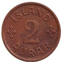 Монета 2 аурара. 1926 год, Исландия.