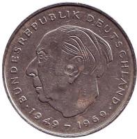 Теодор Хойс. Монета 2 марки. 1970 год (F), ФРГ.