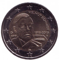 100 лет со дня рождения Гельмута Шмидта. Монета 2 евро. 2018 год, Германия.