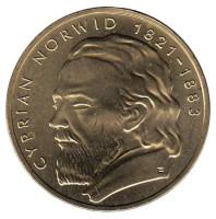 Циприан Камиль Норвид. Монета 2 злотых, 2013 год, Польша.